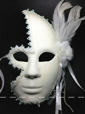 Full Face Venetian Masquerade  Womens White Glitter Lace Mask w/Flower&Feather