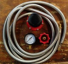 HP, Regulator Kit  for Cookers 0-30 Psi, 10 Stainless Braided Hose with Red QCC.