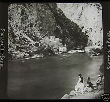 Glass Magic lantern slide SOURCE OF THE BUNA RIVER  C1910 BOSNIA & HERZEGOVINA