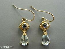 Fine 10K Yellow Gold Pear Shape Aquamarine & Round Amethyst Dangle Earrings