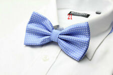 MENS Luxury 2 Layer SKY BLUE & WHITE Polka Dot Dickie Bow Tie Adjustable NEW