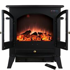 "25"" 1500W Tempered Glass Freestanding Adjustable Electric Fireplace Stove Heater"