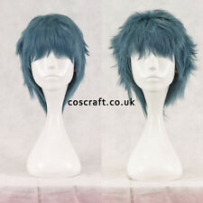 Short layered fluffy spikeable cosplay wig in blue-grey, UK seller, Jack style