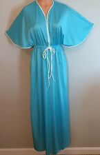 Vtg VANITY FAIR Long Flutter Sleeve Housecoat Robe Zipper Sz S Turquoise Blue