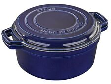 Staub Cast Iron 7 QT Braise & Stovetop Grill Pan Cooking Dutch Oven Dark Blue