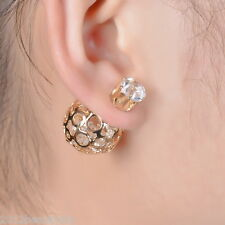 New Women Double Sides Hollow Gold Plated Crystal Ball Ear Studs Earring
