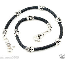 "Skull Leather String EMO Biker Trucker Key Jean Wallet Chain CS83 (29"") Silver"