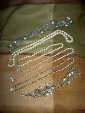 Lot of 6 Vintage Costume Pearl Necklaces Wear or Jewelry Replacment Parts Crafts