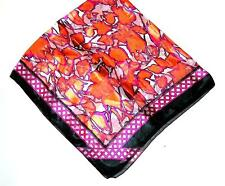 SCARF Large Square Bright Orange Violet Black White Flowers BOLD FLORAL ABSTRACT