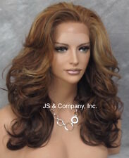 HEAT SAFE Lace Front wig Brown Auburn Gold mix Roller curls Wavy NBY 4-33-go