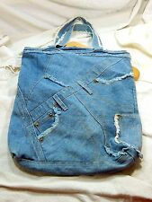 Vintage Blue Jean Denim Tote Bag Purse Recycle Upcycle Sack Boho Hippie