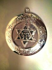 "JEWISH STAR PHOTO LOCKET Silver Plate Pendant on 18"" 925 Sterling Chain Necklace"