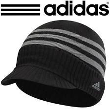 """NEW 2017"" ADIDAS 3 STRIPES CLIMAWARM® MENS THERMAL WINTER VISOR KNIT BEANIE HAT"