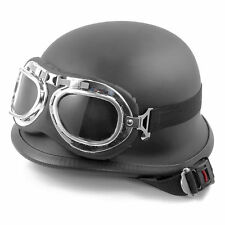 Motorcycle Black German Half Open Face Helmet Chopper Cruiser Biker w/ Goggles