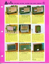 """Vintage ARVIN Ad Sales Sheet: """"PORTABLE ELECTRIC HEATERS"""""""