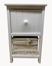 Shabby Chic Bedside Unit Table Drawers with Wicker Storage White