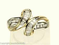 .60 ct Round Baguette Diamond 14K Gold Crossover Bypass Cocktail Ring Sz. 7.25