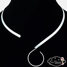 Silver Choker Necklace Collar S Hook Swirl Loop 5mm  Neck Wire(CS3)
