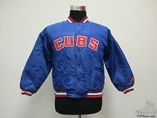 Adidas Chicago Cubs SEWN Button Up Satin Dugout Jacket sz Youth M Medium MLB