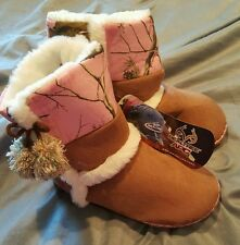 Womens Fleece Northern Trail Realtree Boot Slippers Pink Camouflage L 8