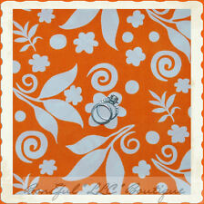 BonEful Fabric FQ Cotton Quilt Orange White Bright Flower Leaf Dot Swirl Scroll