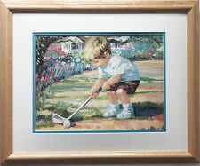 "Corinne Hartley ""Just Like Dad"" New CUSTOM FRAMED Art Lithograph Golf Cute Kids"