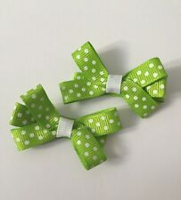 2 Packs Of Lime Green  Polkadot hair bow Clips/aligator Clip/schools Uniform