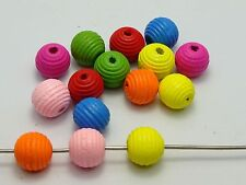 50 Mixed Bright Candy Color Fluted Round Wood Beads 14mm