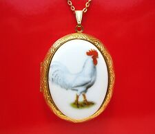 Porcelain WHITE LEGHORN ROOSTER Chicken CAMEO Locket Necklace for Birthday Gift