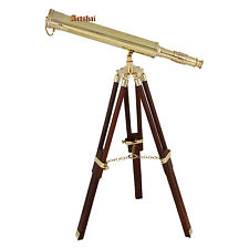 Artshai 16 inch golden brass telescope with wooden tripod stand