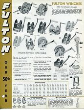 "Vintage Trailer Sales Sheet: ""FULTON"" Winches, Tie-Downs Etc"