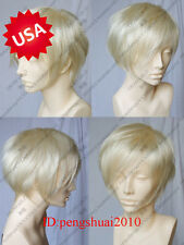 Hot Cosplay Short Straight Platinum-Blonde Fashion Men's Heat Resistant Wig Wigs