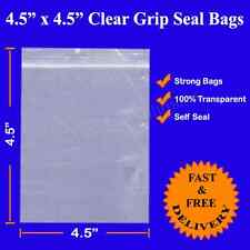 "100 4.5"" x 4.5"" THICK Grip Seal Zip Lock Resealable Clear Polythene Plastic Bag"
