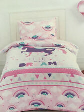 UNICORN PINK BELIEVE IN YOUR DREAMS SINGLE bed QUILT DOONA DUVET COVER SET