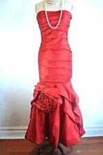 Formal Evening Gown/Long Red Dress Mermaid Fitted Strapless Flower Skirt S Small
