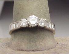 .97 ct Diamond Three Stone Engagement Ring 14k White Gold