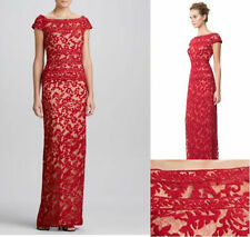NWT Tadashi Shoji  Embroidered Illusion-Neck Lace Dress Gown Carmine Red sz 6