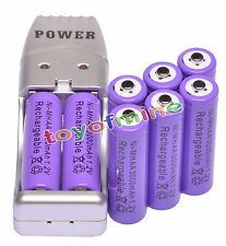 8x AA 2A Purple Color 1.2V Ni-MH 3000mAh Rechargeable Battery + USB Charger