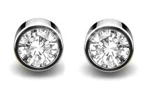 Diamond Studs .20ct Modern Rubover Set 18ct White Gold RRP £425.00