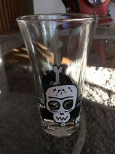"""Frenzy Hand Painted DAY OF THE DEAD """"Bones"""" Skull Shot Glass Signed Retired NOS"""