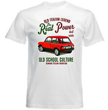 VINTAGE ITALIAN CAR AUTOBIANCHI A112 ABARTH REAL POWER - NEW COTTON T-SHIRT