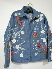 Jean Jacket Denim & Co. Cotton Embroidered Floral Applique Button Front