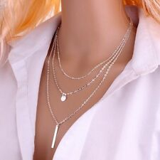 New Women Fashion 925 Sterling Silver Plated Multi Layer Chain Pendant Necklace
