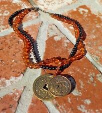 ASIAN INSPIRED CHINESE COIN BLACK & AMBER COLOR BEAD NECKLACE FREE SHIPPING