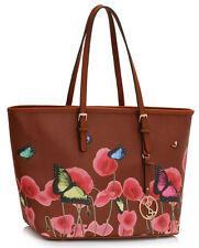 New Large Size Shopper Bag Ladies Butterfly Flower Flora Tote Bags Handbags CWRJ