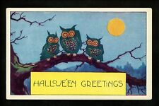 Halloween postcard Whitney WH41-3 Owl moon fantasy greetings Vintage