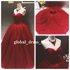 Vintage Burgundy Wedding Dress Princess Lace Prom Party Formal Quinceanera Gowns