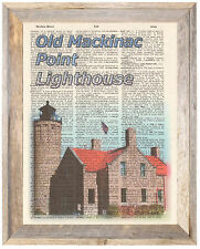 Old Mackinac Point Mich Lighthouse Altered Art Print Upcycled Vintage Dictionary