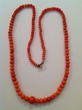 Antique Natural Graduated Coral Bead Necklace
