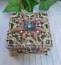 Elegant Square Bejeweled Enameled Trinket Box with multi colors rhinestones.